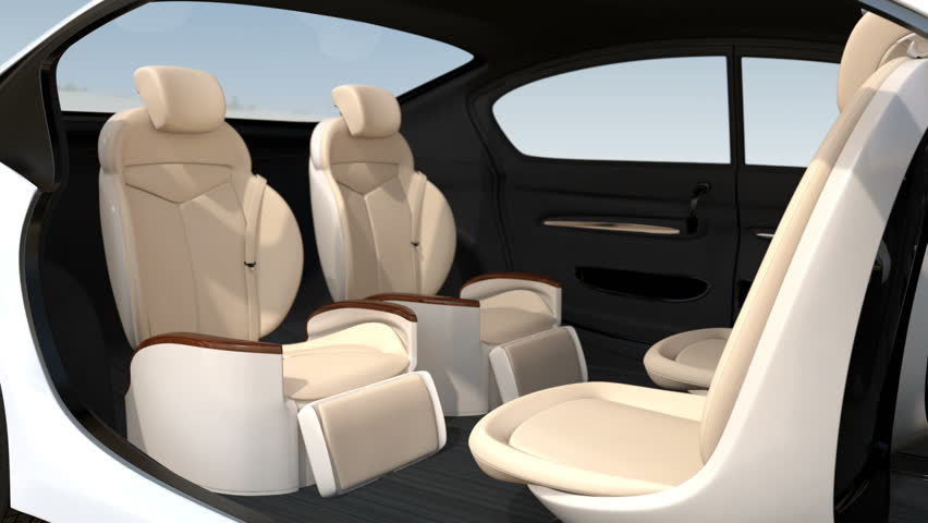 3D animation of business meeting layout in self driving  car.  Front seats turn to backward, and the rear seats have gorgeous reclining massage function