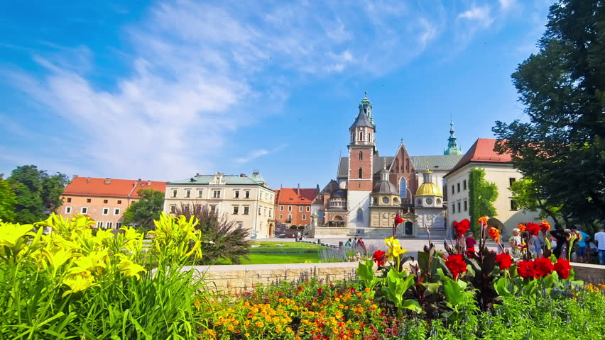 Summer view of Wawel Royal Castle complex in Krakow. It is the most historically and culturally important site in Poland. Time Lapse