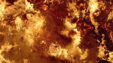 Fire storm, horrific fire destroys gigantic hay bales construction, Red Epic slow motion clip