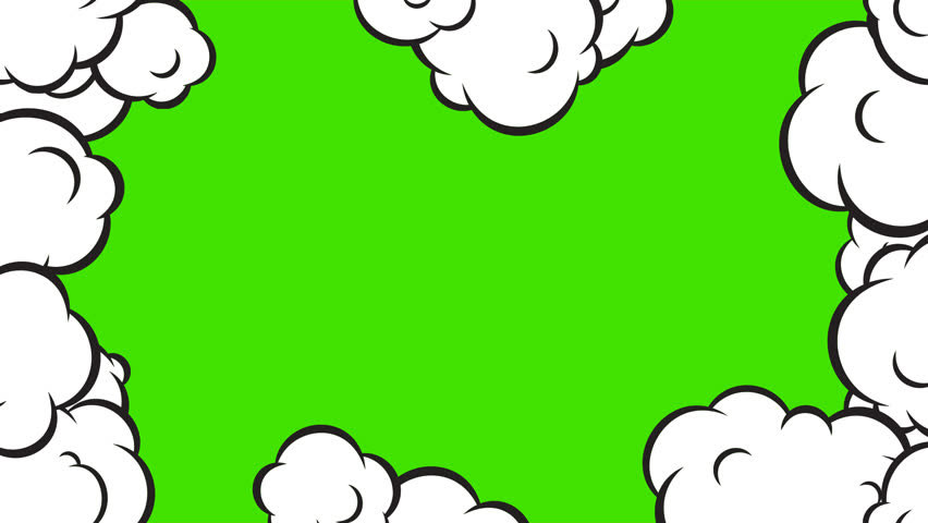 Cartoon pop art clouds animation frame. HD motion design on green background. | Shutterstock HD Video #22804489