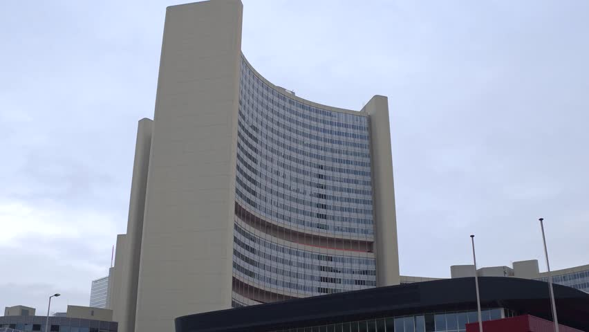 VIENNA, AUSTRIA - DECEMBER, 24 Steadicam shot of United Nations office buildings, UNOV or UNO city. VIC complex. 4K video