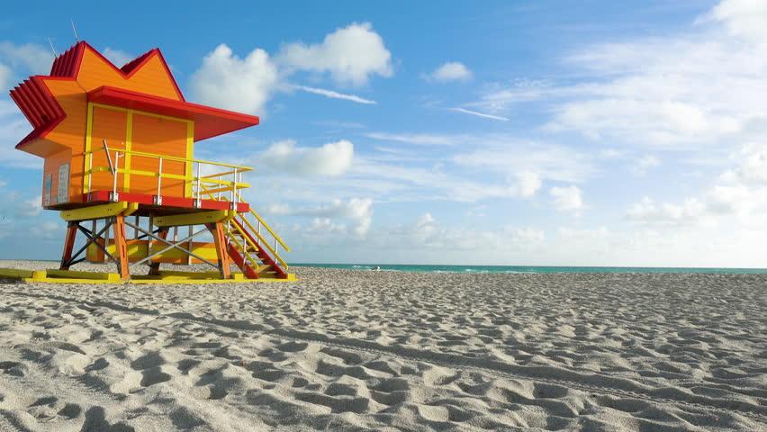 Timelapse Miami Beach Liuard Stand Scenic Sunny Day Tropical