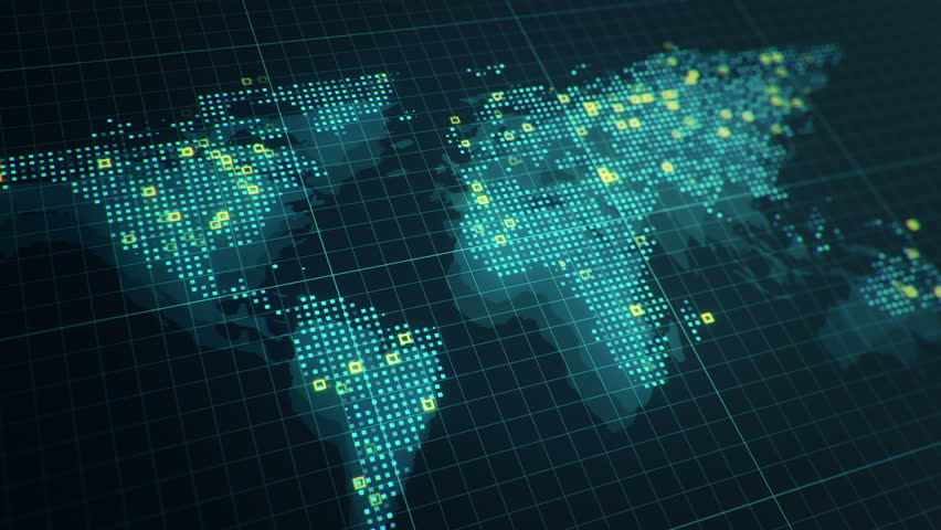 Abstract animation of World map in digital screen with colorful dots and lines. Animation of seamless loop. | Shutterstock HD Video #22911052