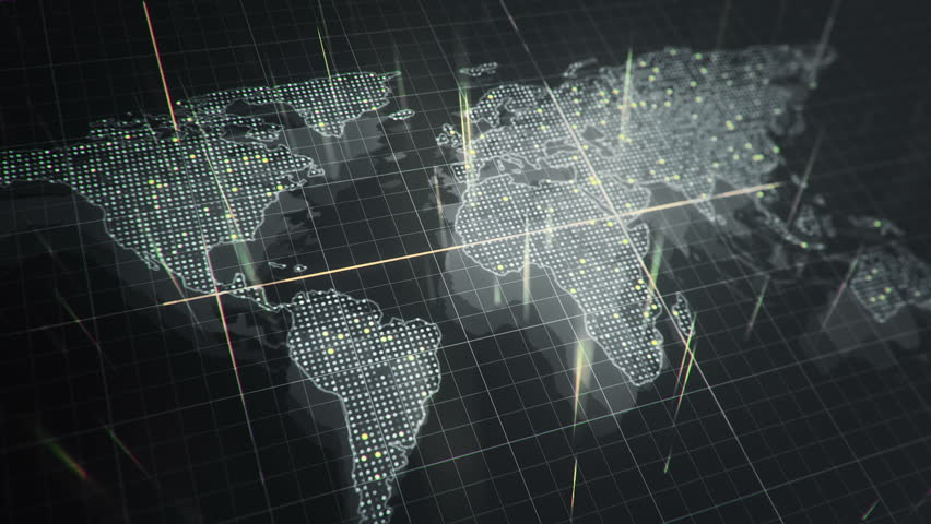 Abstract animation of World map in digital screen with colorful dots and lines. Animation of seamless loop. | Shutterstock HD Video #22911745