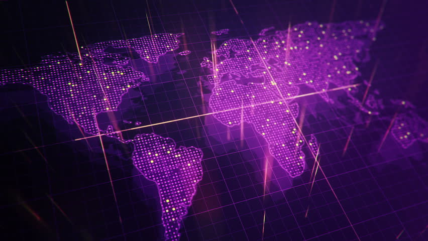 Abstract animation of World map in digital screen with colorful dots and lines. Animation of seamless loop. | Shutterstock HD Video #22911769