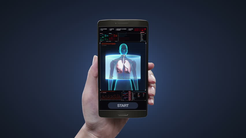 Touching health care diagnosis application on mobile, smart phone, Rotating Human Female lungs, Pulmonary Diagnostics in digital display dashboard.