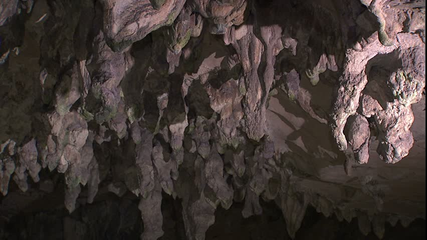 Pan detail of Carter Cave stalactites in Kentucky