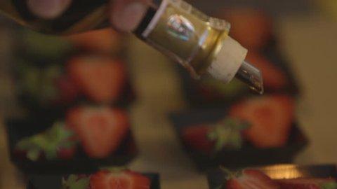 Strawberries with balsamic vinegar Shooting in detail of strawberries with balsamic vinegar
