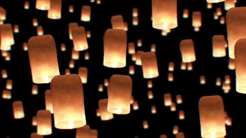 Beautiful Looped 3d animation of Floating Lanterns in Yee Peng Festival. Seamless. HD 1080.   Shutterstock HD Video #22949200