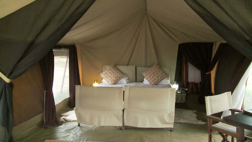 south serengeti tent camp interior of tent cabin shows living area hd stock video clip