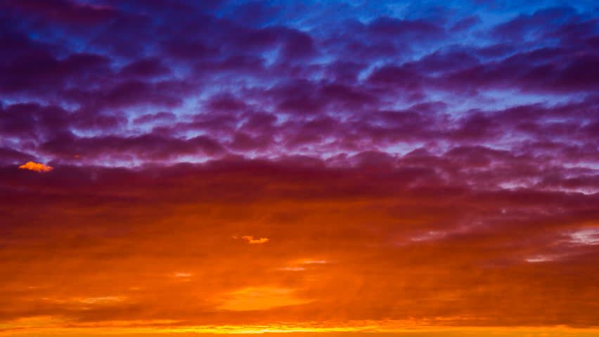 Red Purple Blue Sunset Sky And Clouds Background Timelapse Motion Of Abstract Nature Landscape Fly Run Roll Move Pass By High In Air