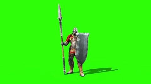 Centurion Roman Soldier Dies Front Lance Helmet Shield
