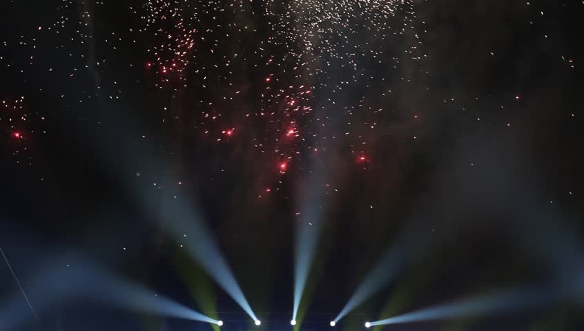 Colorful lights and fireworks  in a concert