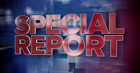 A red and blue dynamic 3D Special Report news title page animation.