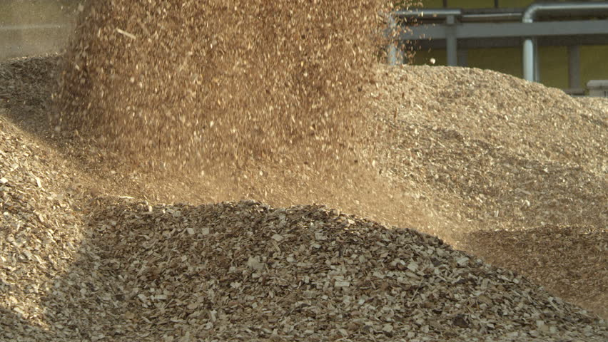 Loader pouring wood chips from its bucket
