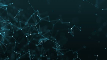 4K rendered computer generated big data video abstract moving background. Triangles, dots and lines are connecting with shine on blur background. Slow motion and shallow depth of field