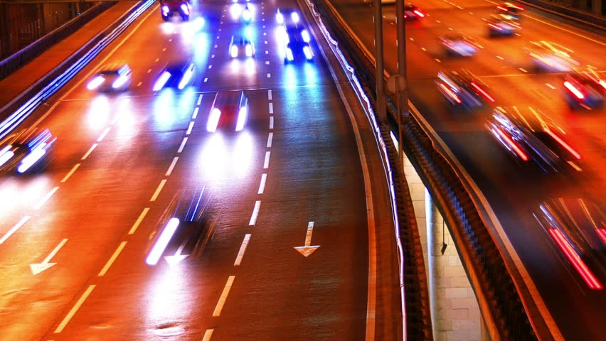 Cinemagraph night traffic on city freeway time-lapse | Shutterstock HD Video #23120989