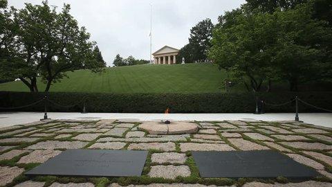 Arlington, Virginia - Circa 2009: The Arlington National Cemetery in 2009. Eternal Flame at the JFK Memorial in Arlington, Virgina.