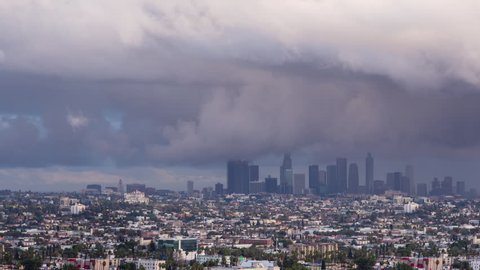 Downtown Los Angeles Rain Storm Dark Clouds Day To Night Sunset Timelapse