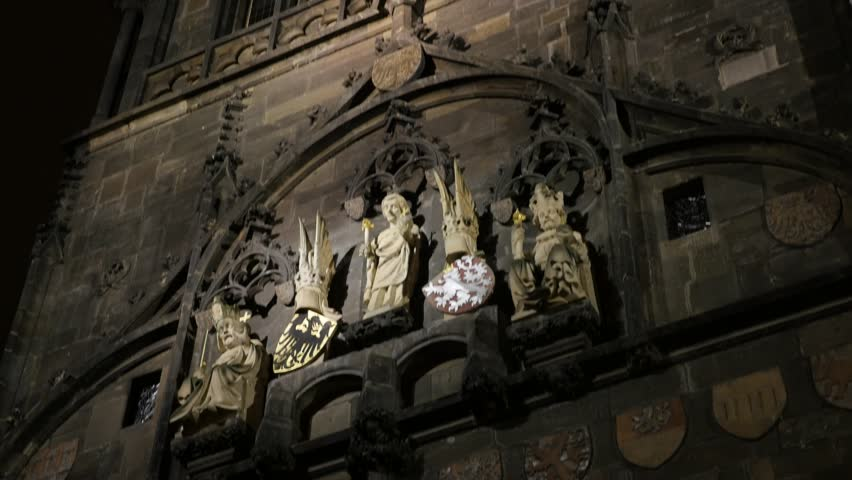 Lighted Details Of Old Town Gothic Tower In Czechia Prague 3840X2160 UHD Tilting Footage