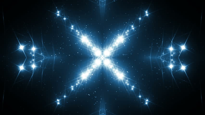 VJ Fractal blue kaleidoscopic background.Background blue motion with fractal design on black background. Disco spectrum lights concert spot bulb. Light Tunnel. Seamless loop.