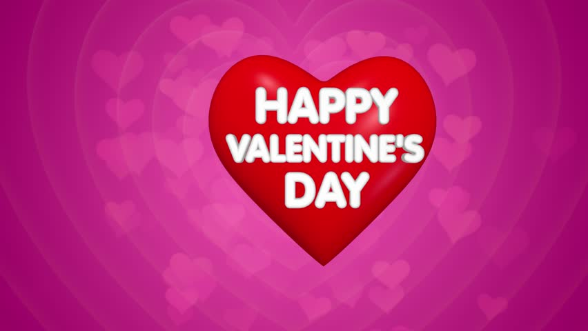 happy valentines day title animation text on the big red heart pink background with