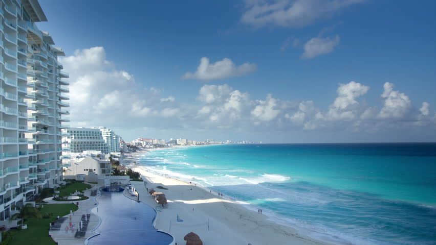 timelapse of the bay of hotels stretching along the coast in cancun, mexico