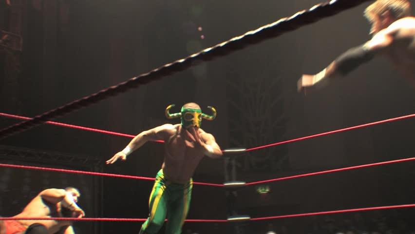 LONDON - April 1: Lucha Libre Wrestling - Hurracanrana during BritWres-Fest 2012 on April 1, 2012