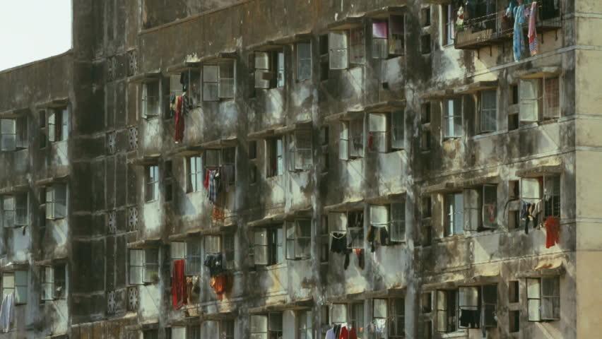 Locked Down Shot Of The Facade A Mumbai Slum Area Apartment Building Stock Footage Video 2320859 Shutterstock
