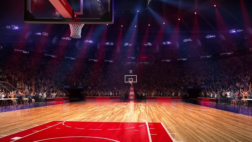 Basketball court with people fan. Sport arena. Ready to start championship. 3d render. Moving lights. With people
