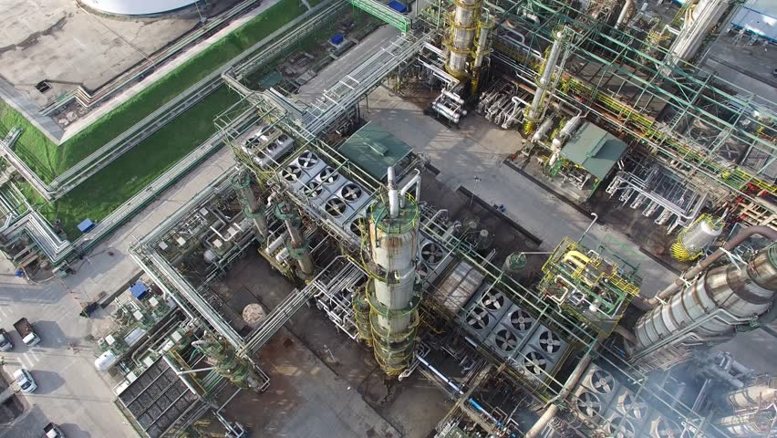 Oil Gas Refinery Drone 4K