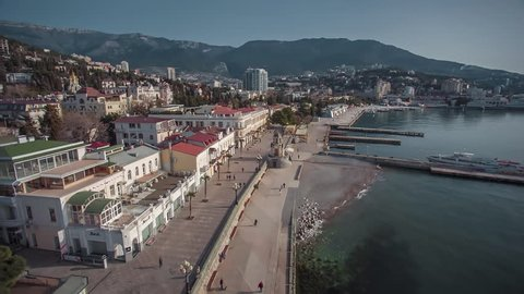 Aerial shot of the beautiful view on embankment of Yalta. Yalta resort town in the southern Crimea.