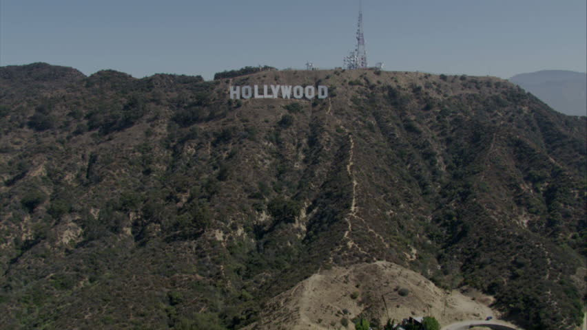 Los Angeles - Circa 2009: The Hollywood sign in 2009. View flying towards the famous Hollywood sign above Hollywood in Los Angeles, California.