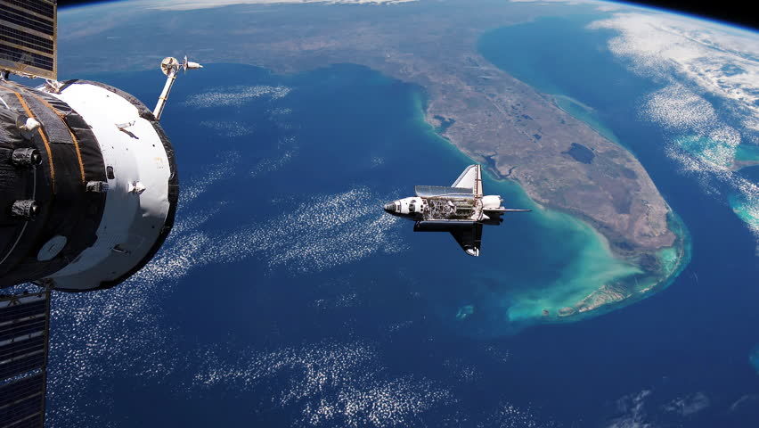 Space shuttle floats in space. Perfect of computer graphics videos about: space, earth, orbit, ISS, the International Space Station, astronauts, NASA and discovery