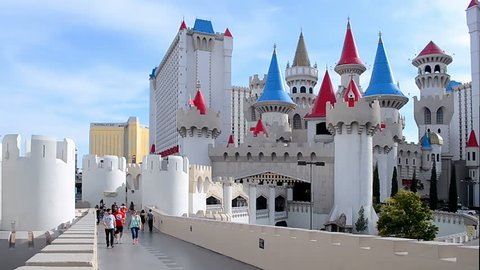 LAS VEGAS - APR 21: colorful towers of the Excalibur Hotel and Casino on the Las Vegas Strip on April 21, 2016 in Las Vegas, USA.