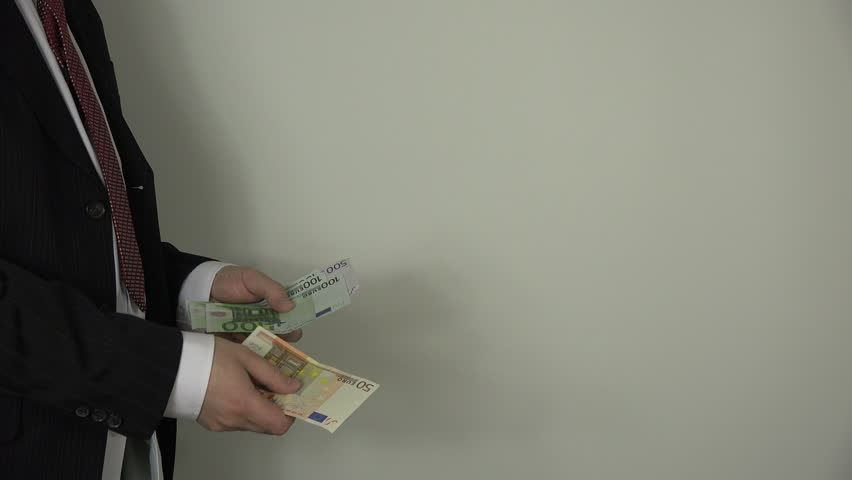 man hand count euro money banknote on white background 4k 4k stock footage clip