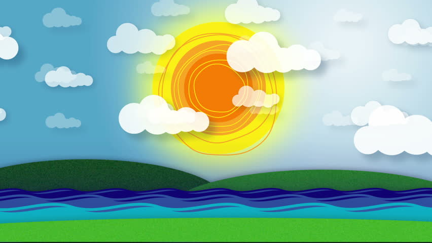 Stylized Animation Of Sky With Rotating Sun And Moving ...