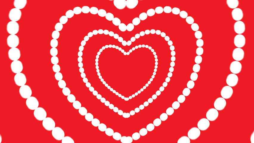 Animated heart appearing on a red background as symbol of love and valentines day for couple