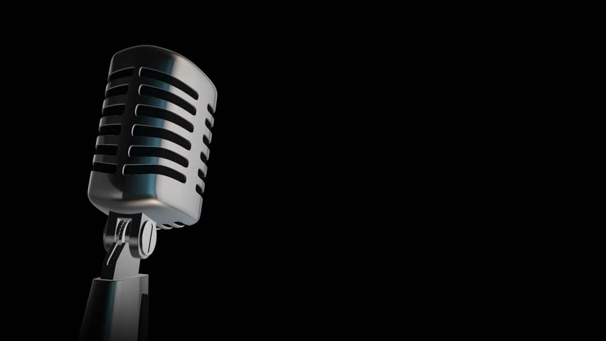Retro microphone Vintage silver microphone slowly rotating on shiny flickering black background