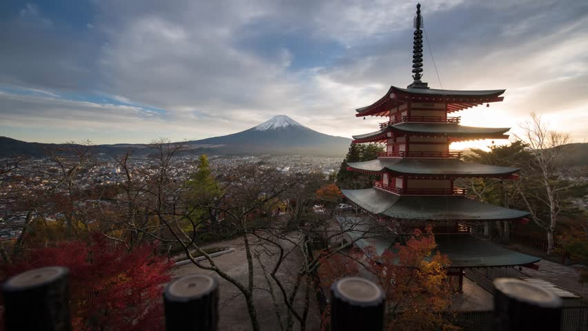 Chureito Pagoda and Mt. Fuji Sunset 4K time lapse in autumn, Kawaguchiko ,Japan. Fuji Five lake. Mt. Fuji landmark | Shutterstock HD Video #23325229