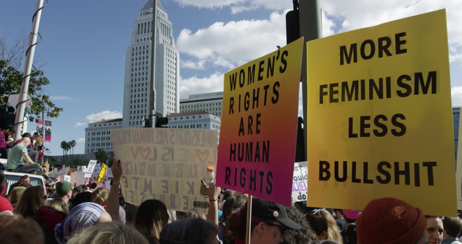Women's March in Los Angeles, California. Over 500,000 people gathered in downtown Los Angeles. January 21, 2017