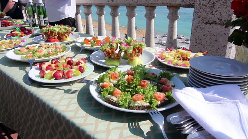 Festive buffet table