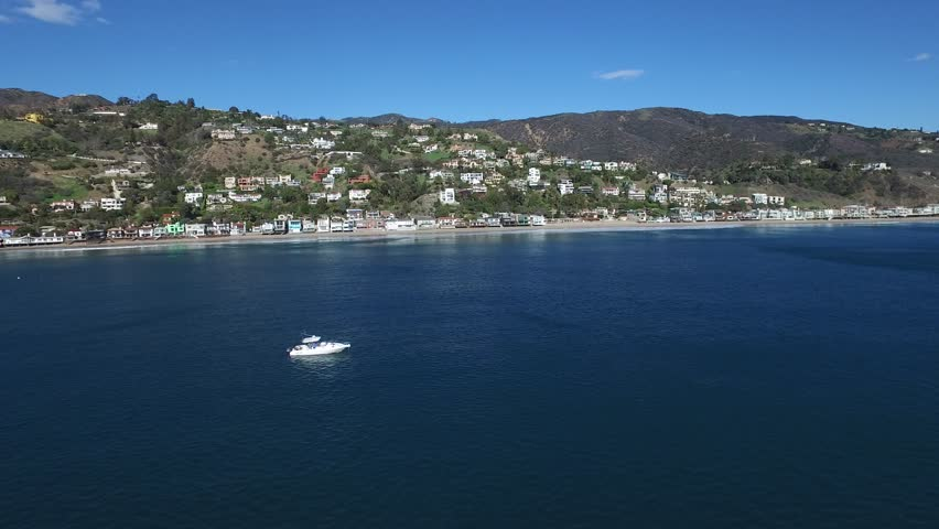 4K ocean drone view of boat in pacific ocean Malibu California | Shutterstock HD Video #23381119