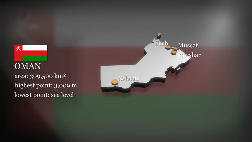 Seamless looping 3D animation of the map of Oman including 2 versions and alpha matte