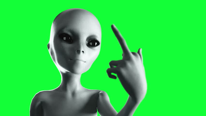 Alien show middle finger, fuck you. Smile. Green screen 4k footage.