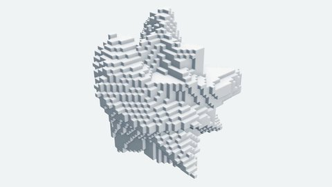 Abstract shape morphing, dynamic voxels 3D visualization.