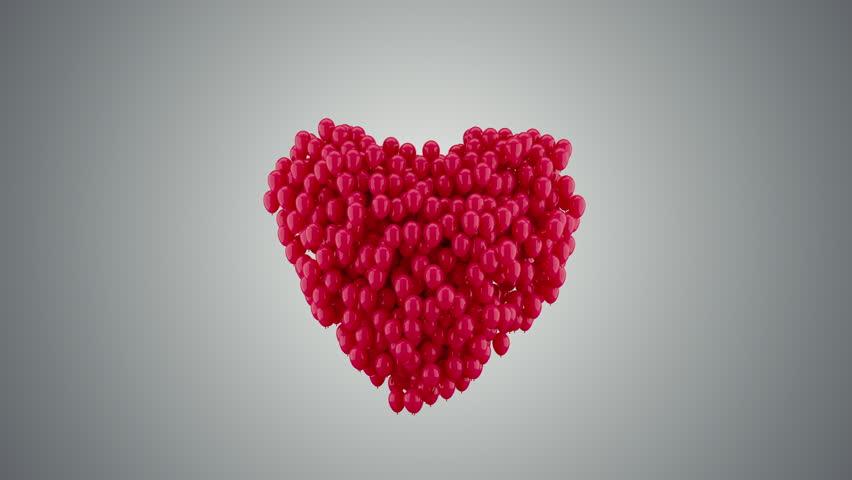 Balloons Heart Shape Random Motion, with alpha 3d Animation 4k | Shutterstock HD Video #23467669