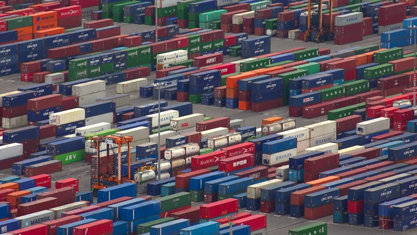 BARCELONA, SPAIN - SUMMER 2016: Container Port docks ship commercial shipping freight cargo. Barcelona, Spain. Shot in 4K (ultra-high definition (UHD)). | Shutterstock HD Video #23486269