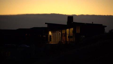 Modern Mountain House at Dusk