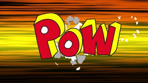Seamless animation of animated and comic speed line background. Comic bomb and smoke explosion popup effect with text in funny action cartoon concept in 4k.